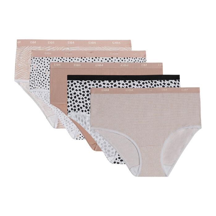 Pack de 5 bragas tipo bóxer de algodón elástico con estampados románticos Les Pockets, , DIM