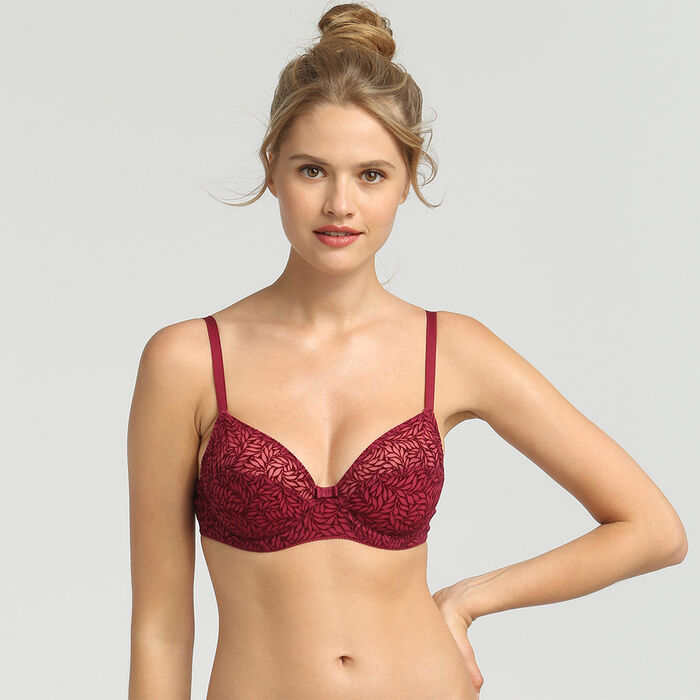 Sujetador triangular push-up rojo Sublim Velours de Dim, , DIM