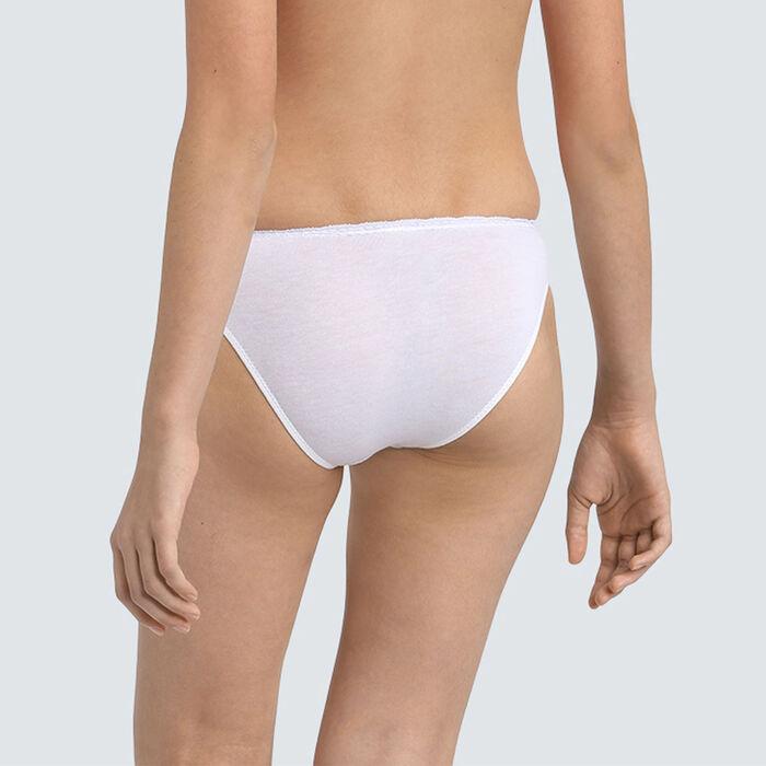 Dim Trendy girls' white stretch cotton briefs with lace waistband, , DIM