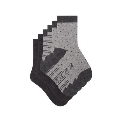 Pack de 3 pares de calcetines de lunares y líneas gris Kids Coton Style, , DIM