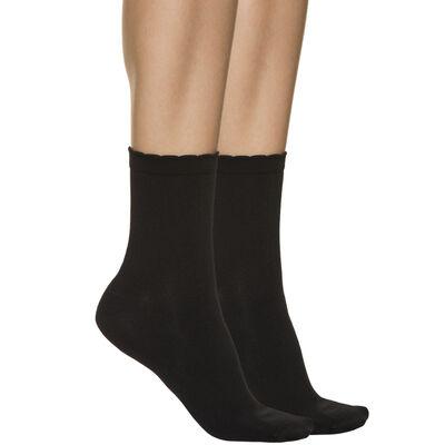 Lote de 2 pares de calcetines bajos negros segunda piel para mujer, , DIM