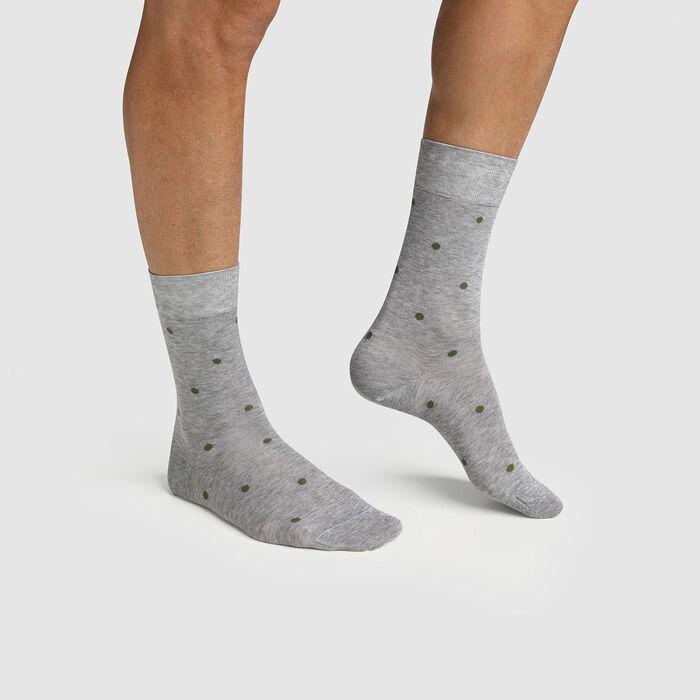 Calcetines para hombre hilo de Escocia de lunares gris Made in France Dim, , DIM