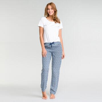 Pantalón largo de pijama con estampado de flores azul - Fashion, , DIM