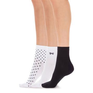 Lote de 3 pares de calcetines bajos con lunares para mujer, , DIM