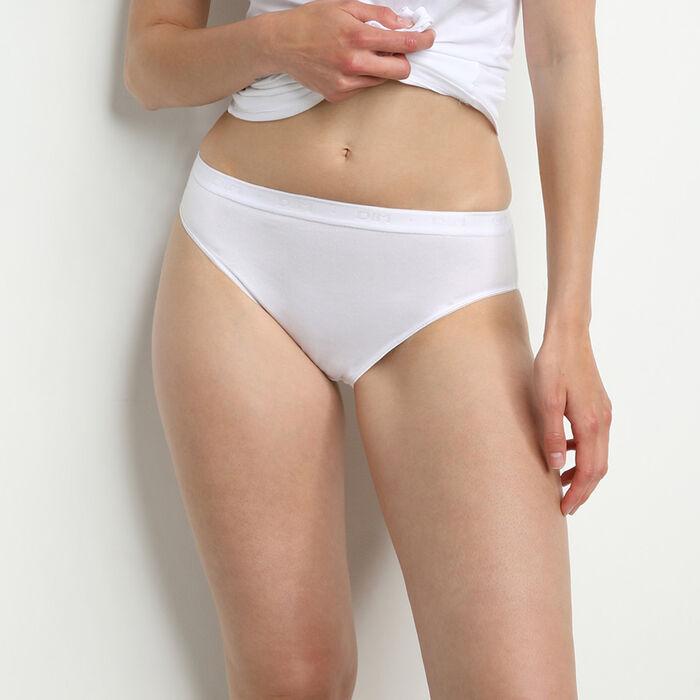 Pack de 2 braguitas de talle medio blancas de algodón BIO Coton Plus Bio, , DIM
