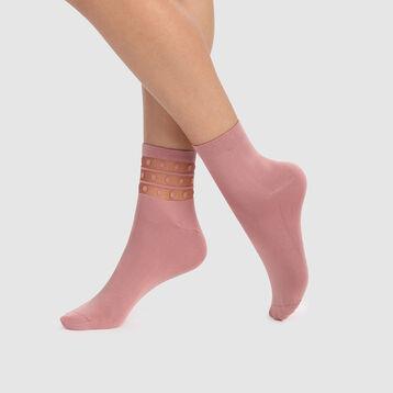 Pack de 2 pares de calcetines rosas de microfibra con tul y plumetis Skin, , DIM