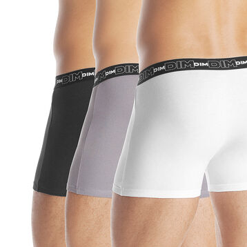 Lot de 3 boxers noir, gris et blanc Homme en coton stretch-DIM