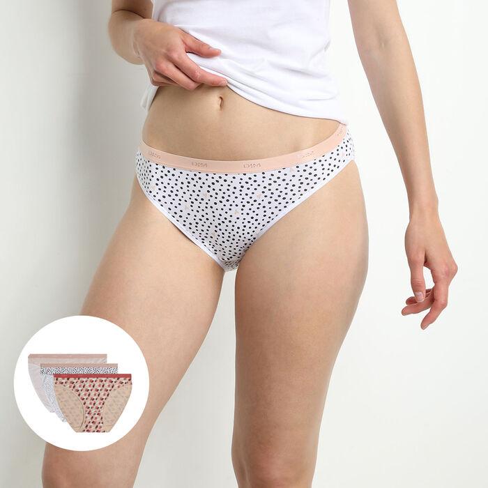 Pack de 3 bragas tipo slip de algodón elástico con estampado gráfico rosa Les Pockets, , DIM