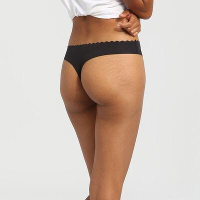 Pack de 2 tangas de algodón elástico negro/blanco Body Touch Coton, , DIM