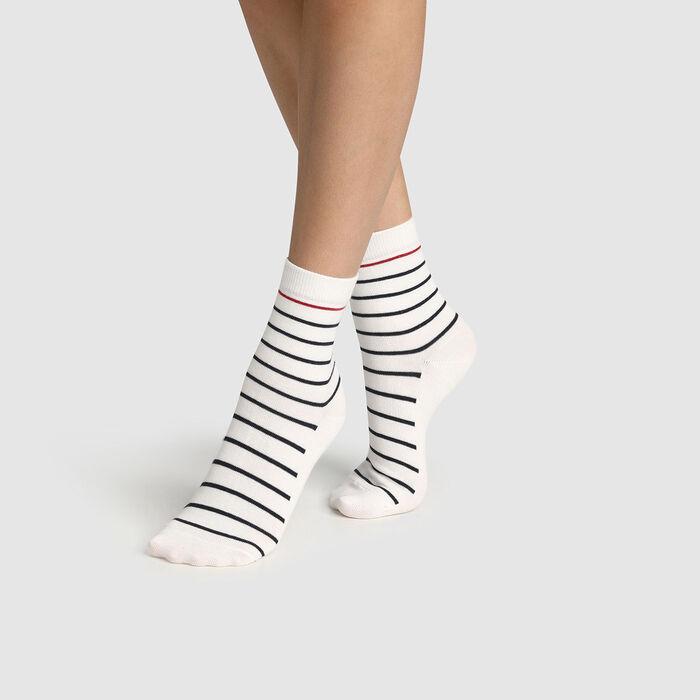 Calcetines para mujer de algodón estampado de rayas azul, blanco rojo Made in France, , DIM