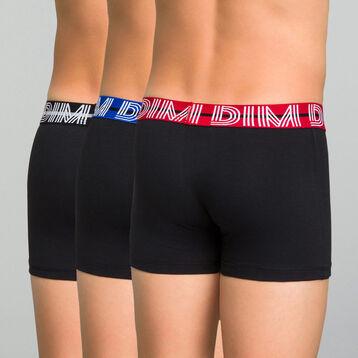 Pack de 3 bóxers negros de algodón elástico niño - Coton Stretch, , DIM