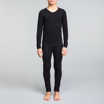 Camiseta de manga larga negra de algodón y cuello pico niño - Dynamic, , DIM