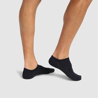 Pack de 2 pares de calcetines bajos para hombre viscosa azul Bambou, , DIM