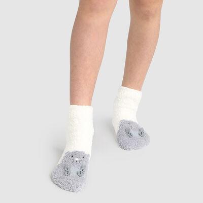 Calcetines para niños antideslizantes estampado marmota 3D marfil Kids Cocoon, , DIM