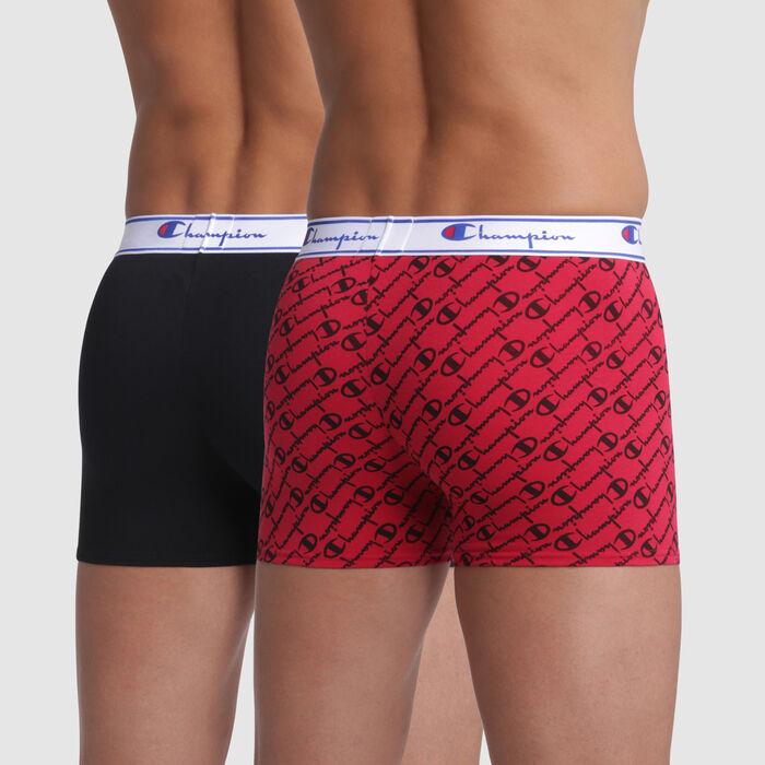 Pack de 2 bóxers rojo estampado y negro con costuras blancas - Champion, , DIM