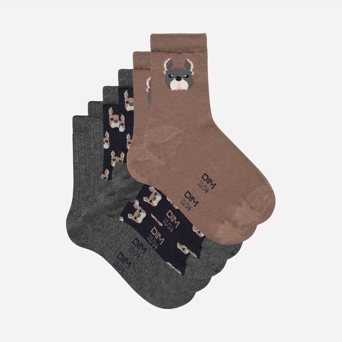 Pack de 3 pares de calcetines para niños con estampado de perros Coton Style Kids, , DIM
