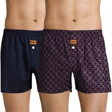 Pack de 2 calzoncillos de tela azul y violeta estampado DIM