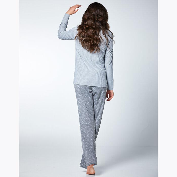 Conjunto de pijama de lunares y rayas gris para mujer, , DIM