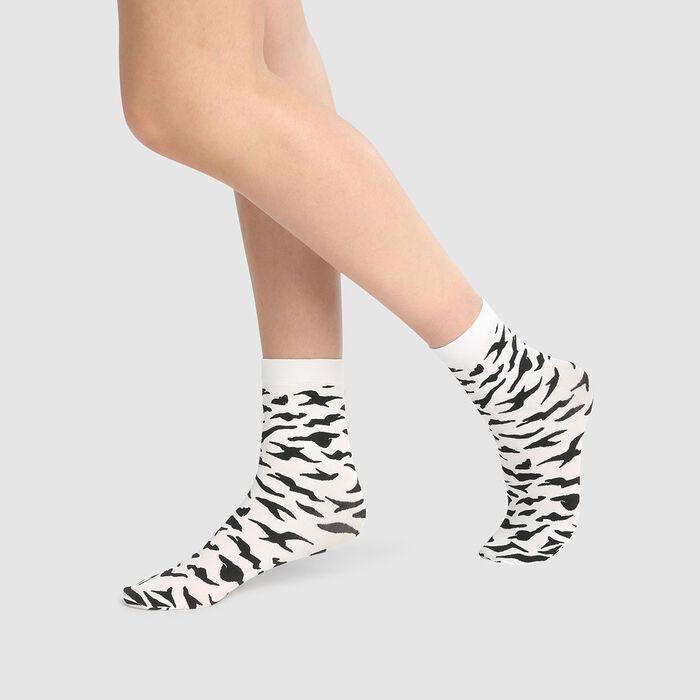 Calcetines de fantasía opacos estampado cebra 58D Dim Style , , DIM