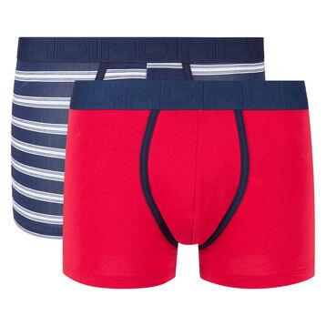 Pack de 2 bóxers rojo y azul de rayas Mix and Fancy, , DIM