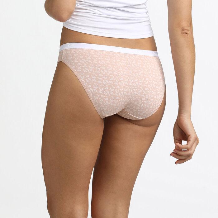 Pack de 3 braguitas de algodón elástico estampado tropical rosa Les Pockets, , DIM