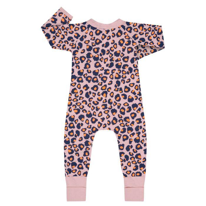 Pijama con cremallera de algodón elástico rosa estampado leopardo, , DIM