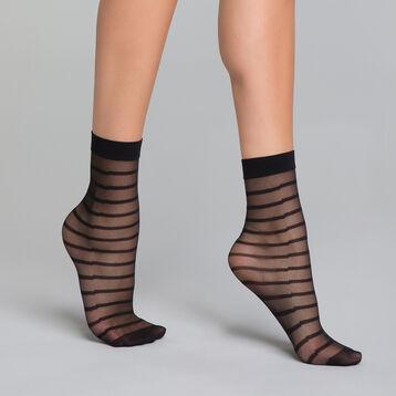 Calcetines negros transparentes de rayas - Dim Style, , DIM