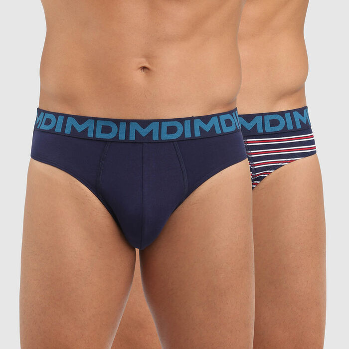 Pack de 2 slips para hombre de algodón elástico estampado de rayas azul Mix and Fancy, , DIM