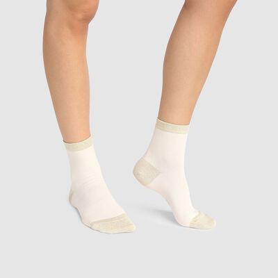 Calcetines bajos marfil para mujer de algodón peinado y lurex dorado Coton Style, , DIM