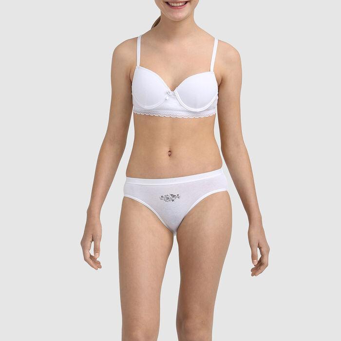 Dim Trendy girls' white stretch cotton moulded cup bra , , DIM