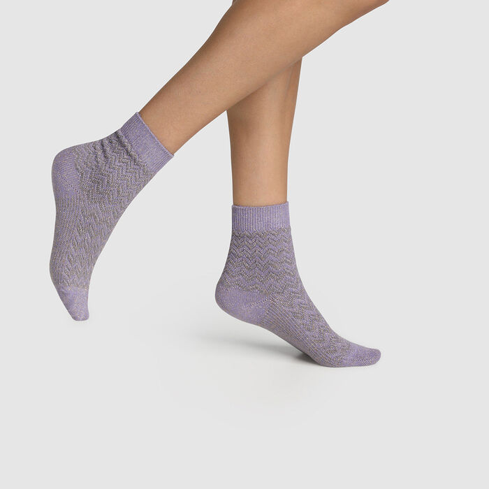Calcetines para mujer de algodón con estampado de cabras lilas Made in France, , DIM