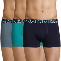 Lot de 3 boxers bleus en coton stretch DIM Powerful-DIM