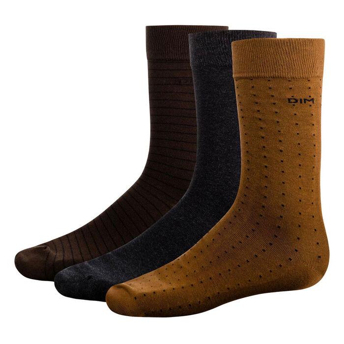 Pack de 3 pares de calcetines caña media marrones de lunares y rayas Coton Style, , DIM
