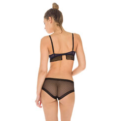 Shorty noir en coton et dentelle Seductive Transparency-DIM