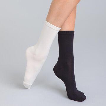 Lot de 2  chaussettes crème et noires ultra soft Femme-DIM