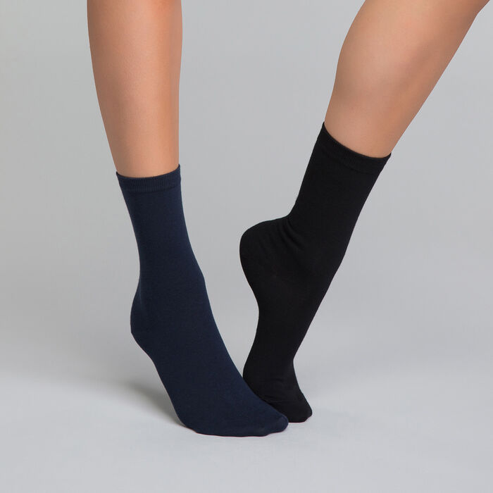 Pack de 2 pares de calcetines negros y azules marino de algodón - Dim Basic Coton, , DIM