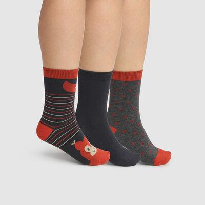 Pack de 3 pares de calcetines de algodón ardilla beige Kids Coton Style, , DIM