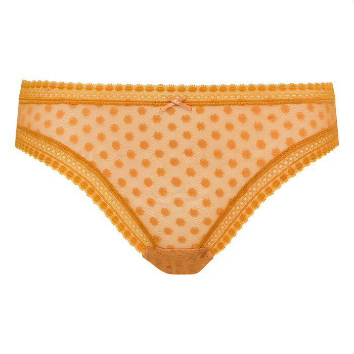 Braguita de encaje estampado lunares amarillos Dotty Mesh Bar à Culottes Dim, , DIM