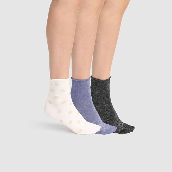 Pack regalo de 3 pares de calcetines bajos en lurex marfil negro azul Dim, , DIM