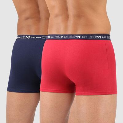 Pack de 2 bóxers para hombre azul y rojo Coton Stretch, , DIM