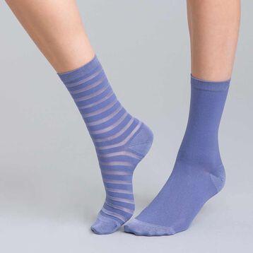 Lot de 2 chaussettes lilas à rayures brillantes Femme-DIM