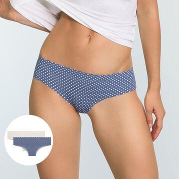 Pack de 2 Hipsters de microfibra azul plumetis y marfil Body Touch, , DIM