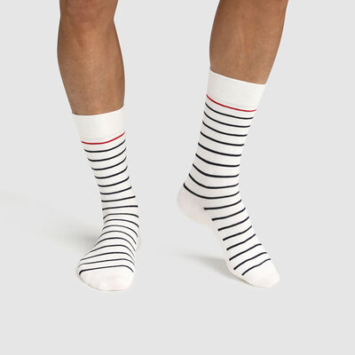 Calcetines para hombre de algodón estampado de rayas azul blanco rojo Made in France, , DIM