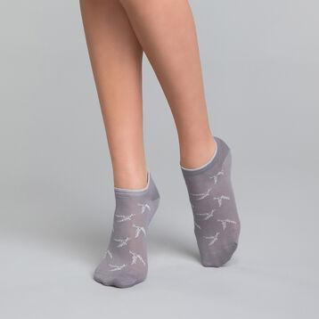 Calcetines bajos de algodón grises con lurex plateados - Dim Coton Style, , DIM