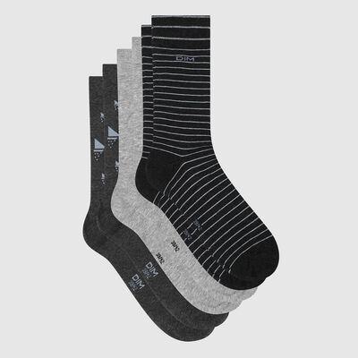 Pack de 3 pares de calcetines para hombre estampado barco gris Coton Style, , DIM