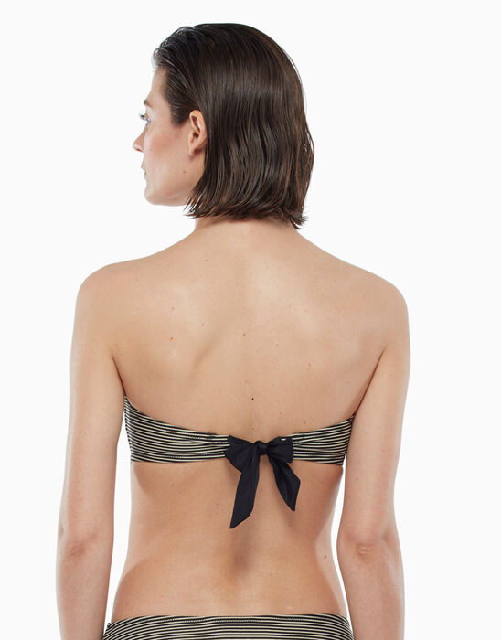 Sujetador de traje de baño con aros y rayas doradas y negras, , DIM