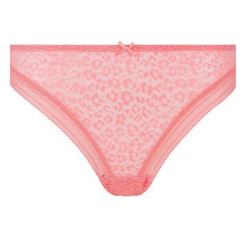 Tanga de microfibra  y encaje rosa coral de leopardo Dotty Mesh, , DIM