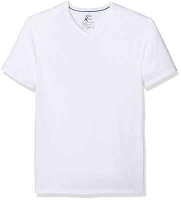 Pack de 2 camisetas de cuello pico blancas de algodón elástico X-Temp, , DIM