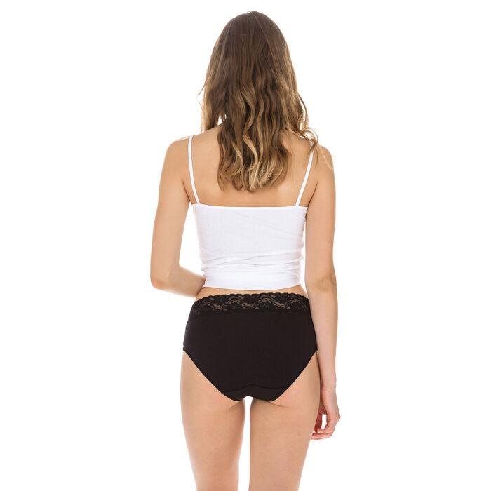 Lot de 2 slips noirs Coton Plus Féminine taille haute-DIM