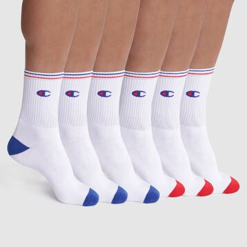 Pack de 6 pares de calcetines blancos de algodón - Champion Performance, , DIM